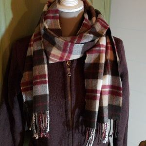 Brown plaid cashmere scarf